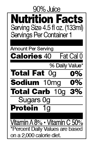 Juice Nutritional Information