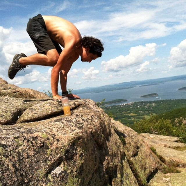Co founder Jake shows off his crow atop Cadillac mtn. We say life is not just something to get through but a gift to revel in each moment. What are you celebrating this Monday?
